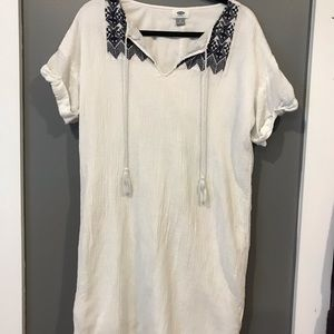 White Tshirt style embroidered dress with tassels